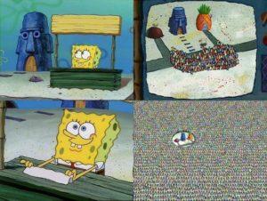 Spongebob selling items Opinion meme template