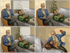 Angry therapist beating patient Comic meme template