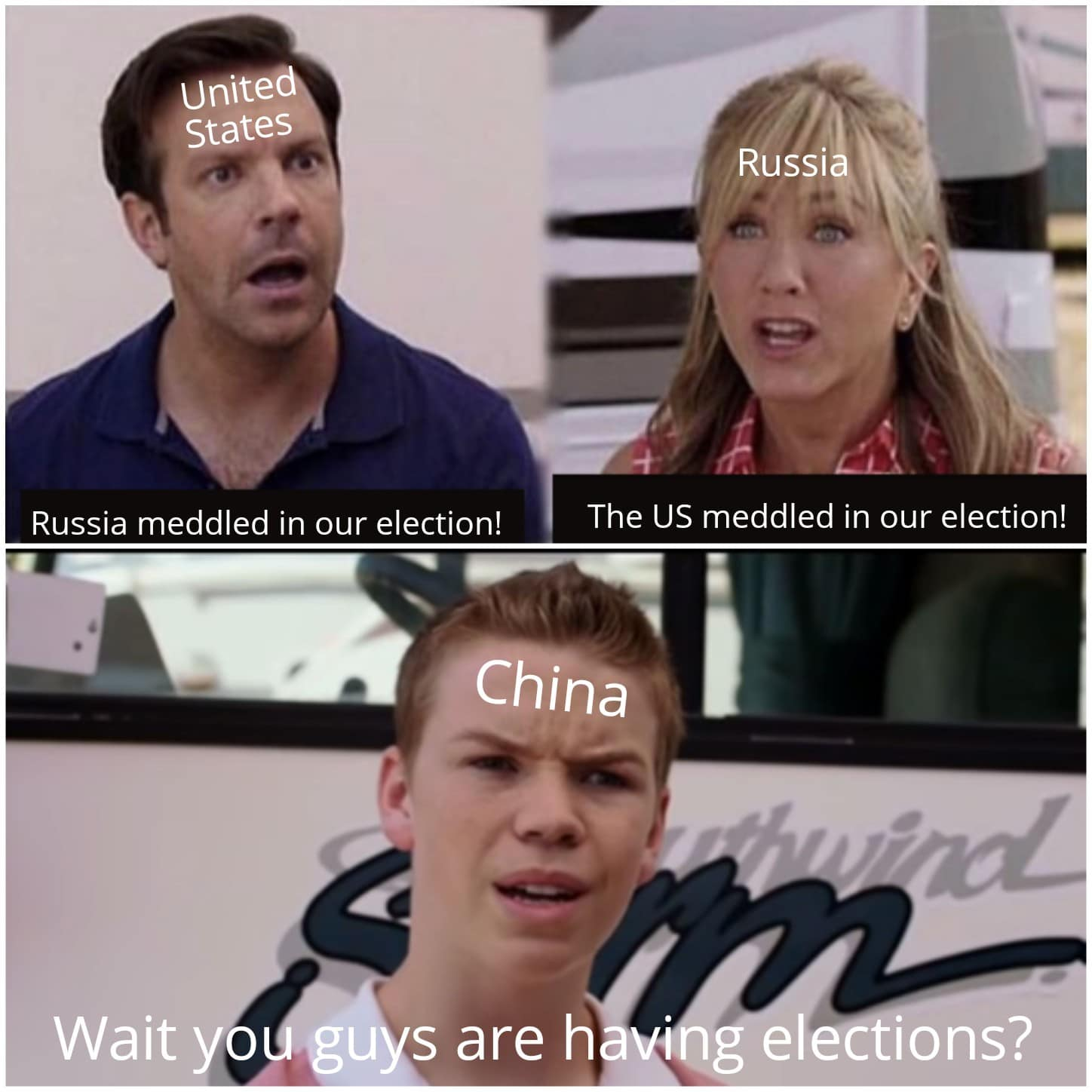Dank, Political Meme, US, China, Russia dank-memes cute text: Unite States Russia meddled in our election! Russi The US meddled in our election! Wait China s are h