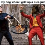 wholesome-memes cute text: Me and my dog when I grill up a nice juicy steak  cute