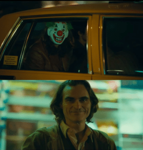 Arthur Fleck looking at man in Joker mask Joker meme template