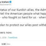 political-memes political text: Lindsey Graham @LindseyGrahamSC As to the status of our Kurdish allies, the Administration has yet to tell the American people what happens to the Kurds who fought so hard for us when we leave. Is there a plan to protect our allies post withdrawal? Need answers now. 5:58 AM Dec 21, 2018 TweetDeck 3 3K Likes 11K Retweets  political