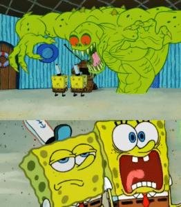 Green monster two Spongebobs March 2020 meme template