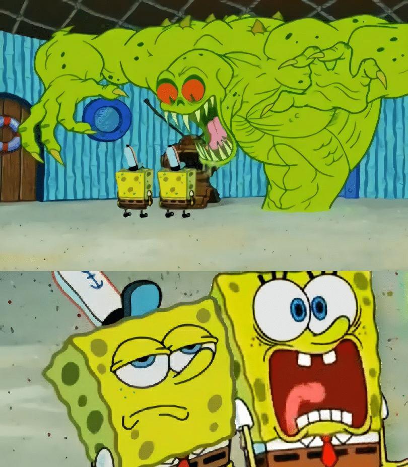 Meme Generator - Green monster two Spongebobs - Newfa Stuff