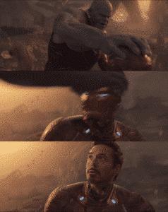 Thanos breaking Iron man