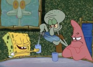 Squidward giving Spongebob Seltzer Angry meme template