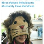 wholesome-memes cute text: Fellow Bro @MERNiK6 Went out for breakfast and this guy had a lion hat. My daughter said she liked the hat and he gave it to her. Made her day. #humans #bros #peace #wholesome #humanity #love #kindness  cute