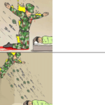 Two-panel showing soldier saving child vs. soldier committing an atrocity.  meme template blank Child, Showing, Panel, Committing, Atrocity, Soldier, Saving