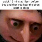 dank-memes cute text: when you hop on your PC for a quick 15 mins at llpm before bed and then you hear the birds start to chirp  Dank Meme