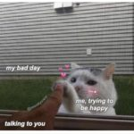 """wholesome-memes cute text: my bad talking to you me, trying to """"be happy=.  cute"""