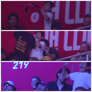 Kid who tricked NBA dance cam into showing shirt in support of Hong Kong Dancing meme template