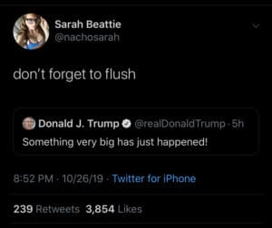 political-memes political text: Sarah Beattie @nachosarah don't forget to flush Donald J. Trump @realDonaldTrump 5h Something very big has just happened! 8:52 PM 10/26/19 Twitter for iPhone Likes 239 Retweets 3,854