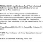 "political-memes political text: MEDIA ALERT: Jack Burkman, Jacob Wohl to be joined by former Kamala Harris personal trainer turned sex partner at Press Conference Burkman and Wohl will be joined by a confirmed former personal trainer of US Senator Kamala Harris who claims to have been involved in a series of sex-capades with the Senator and Presidential candidate ""We demand that Kamala take a polygraph. If she has nothing to hide, the truth will set her free"
