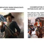 political-memes political text: CONSERVATIVES WHEN DEMOCRATS ARE IN POWER: CONSERVATIVES WHEN REPUBLICANS ARE IN POWER: He