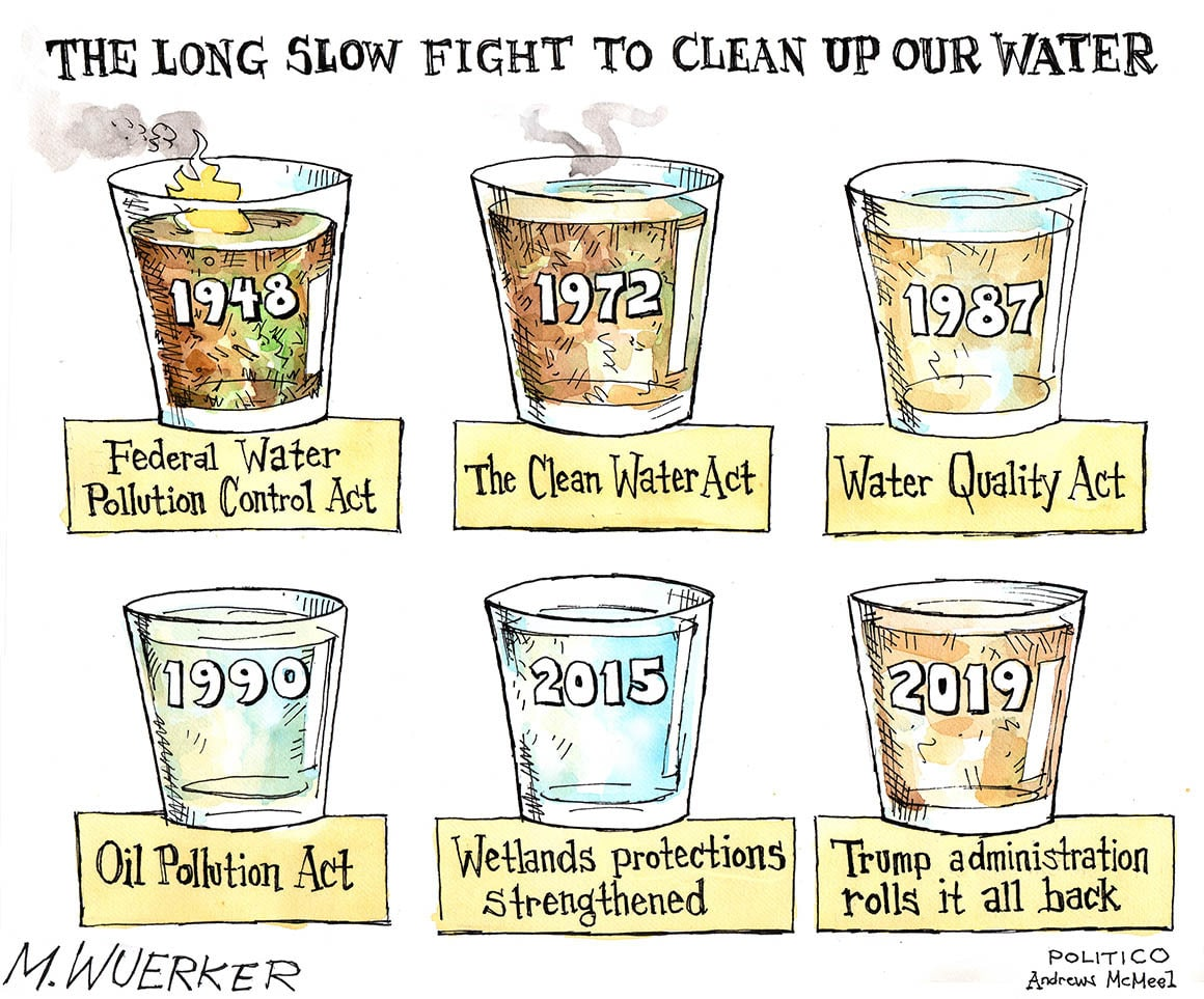 political political-memes political text: THE LONG SLOW FIGHT To CLEAN UP OUR WATER Federal Water Pollution Control Oil Pollution 1972 The Clean Wesc\ands Water Trump a ministration roll* it all hack POLITICO McNeel
