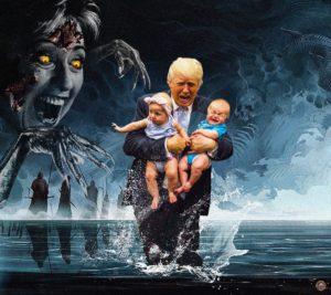 Trump running away from Demon Hillary with children Child meme template