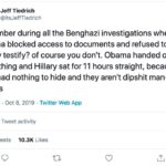 political-memes political text: Jeff Tiedrich @itsJeffTiedrich remember during all the Benghazi investigations when Obama blocked access to documents and refused to let Hillary testify? of course you don