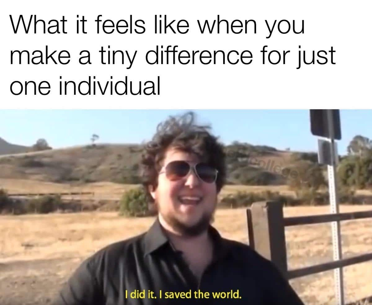 cute wholesome-memes cute text: What it feels like when you make a tiny difference for just one individual Idi it. I saved the world.