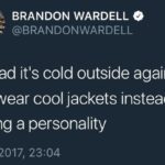 depression-memes depression text: BRANDON WARDELL e @BRANDONWARDELL im glad itls cold outside again so i can wear cool jackets instead of having a personality 13/10/2017, 23:04  depression