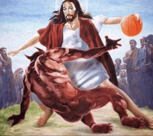 Jesus basketball Christian meme template