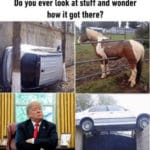 political-memes political text: Do you ever look at stuff and wonder how it got there?  political