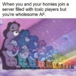 wholesome-memes cute text: When you and your homies join a server filled with toxic players but you