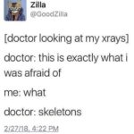 other-memes dank text: Zilla @GoodZilla [doctor looking at my xrays] doctor: this is exactly what i was afraid of me: what doctor: skeletons 2/2/18 4:22 PM  dank