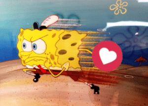 Spongebob Running with Heart Wholesome meme template