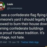 political-memes political text: Louis @Louisweeps if I see a confederate flag flying in someone