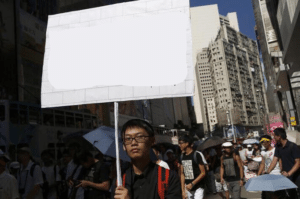 Hong Kong protester holding sign Opinion meme template