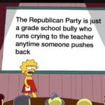 political-memes political text: The Republican Party is just a grade school bully who runs crying to the teacher anytime someone pushes back  political
