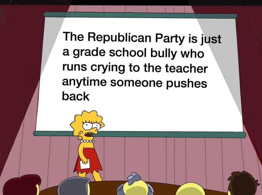 political political-memes political text: The Republican Party is just a grade school bully who runs crying to the teacher anytime someone pushes back