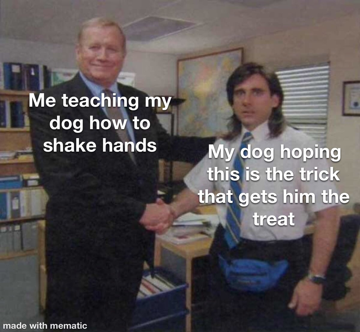 cute wholesome-memes cute text: Me teaching my dog hoqto shake hands My dog hoping this IS the trick that gets him the treat nade with mematic