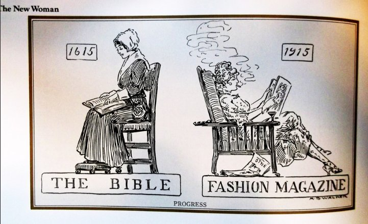 cringe boomer-memes cringe text: he New Woman THE BIBLE 1915 FASHION MAGAZJNE PROGRESS