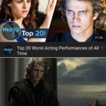 star-wars-memes prequel-memes text: b10Jo TOP 20! 21 Top 20 Worst Acting Performances of All hiOJO Time This is outrageous, it