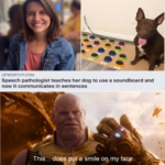wholesome-memes cute text: UPWORTHY.COM Speech pathologist teaches her dog to use a soundboard and now it communicates in sentences hhis.. does put a smile 00 my face.  cute