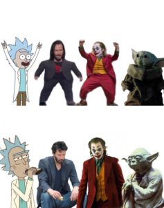 Rick, Keanu, Joker, Yoda young then old Rick and Morty meme template