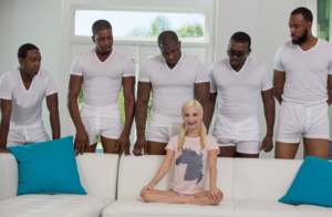 White girl with five black guys vs meme template