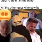 dank-memes cute text: Guy: *gets hit in the balls* All the other guys who saw it:  Dank Meme, Pain, Reaction, Kung Fu Panda, Gordon Ramsay, Count Dooku, Tyler1