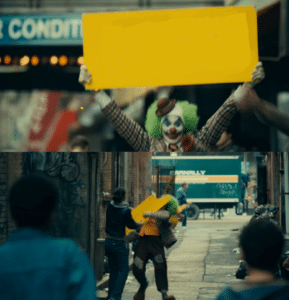 Hitting joker with sign he was holding Joker meme template