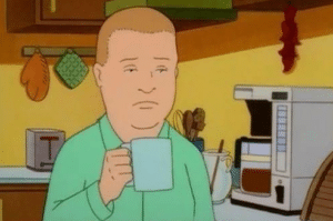 Bobby tired with coffee TV meme template