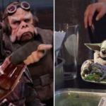 Mandalorian pointing and yelling at Baby Yoda Star Wars meme template blank