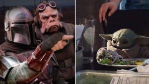 Mandalorian pointing and yelling at Baby Yoda Chimera meme template