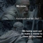 wholesome-memes cute text: My sister You must not fail. Go! Me being sent out to make a meme to #9heer up my mom  cute