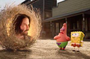 Patrick explaining to Keanu Keanu meme template