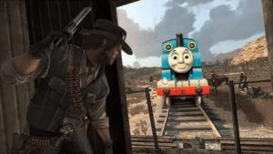 John Marston sneaking up on Thomas Subterfuge meme template