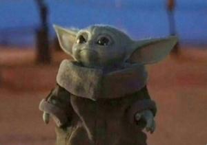 Baby Yoda looking up Mandalorian meme template