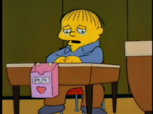 Ralph sad with no Valentines Simpsons meme template