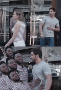Several black guys stopping white guy Stopping meme template
