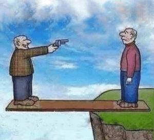 Shooting someone on plank Gun meme template